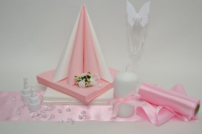 Saténová růžová dekorační sada + ZDARMA bublifuky