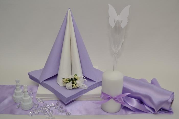 Saténová lila dekorační sada + ZDARMA bublifuky