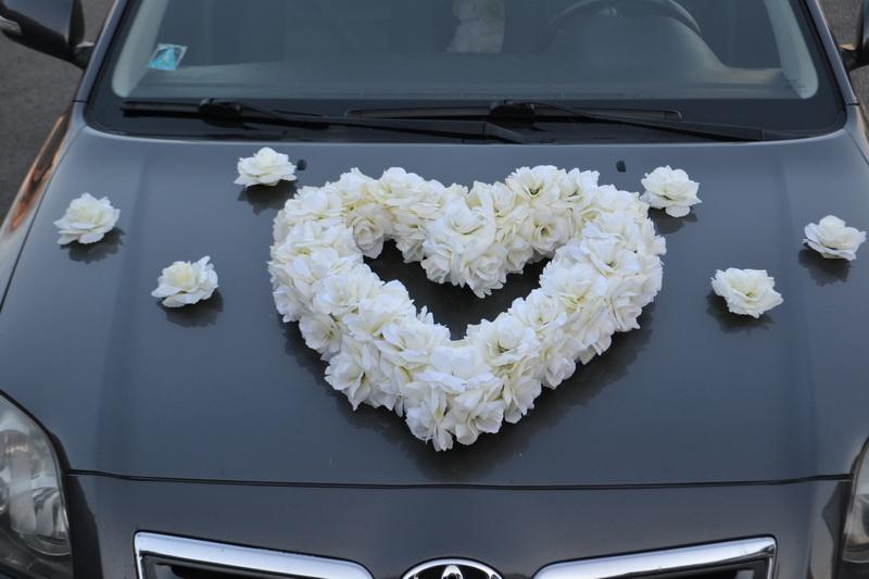 Srdce na auto - krémové