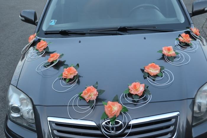 Sestava dekorací na kapotu auta  - oranžová