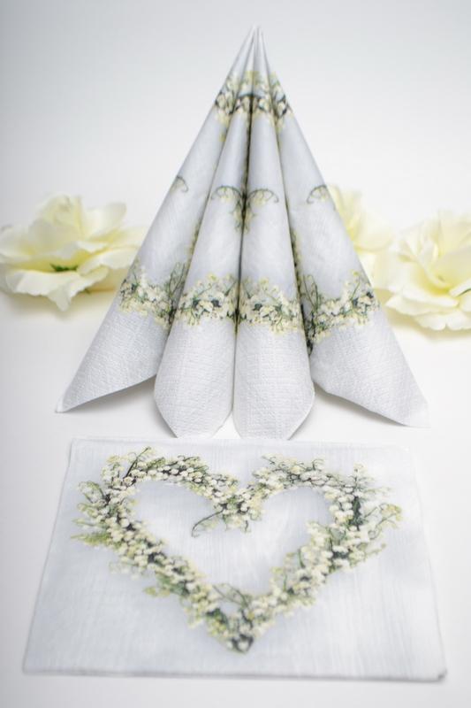Svatební ubrousky  Srdce z Gipshophily