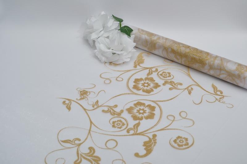Bílá organza -zlatý potisk