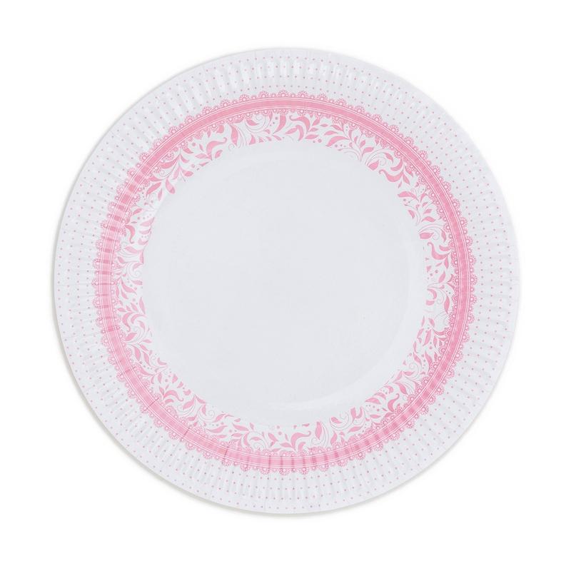 Papírové talíře (8 Ks) - růžová