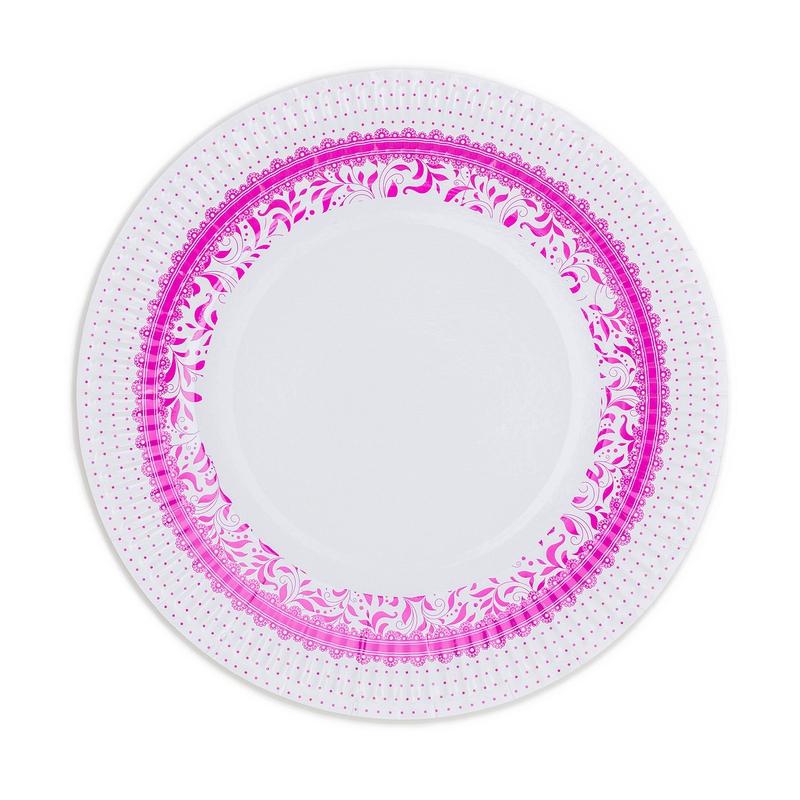Papírové talíře (8 Ks) - fuchsiová