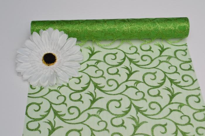 Organza s glitry - zelená