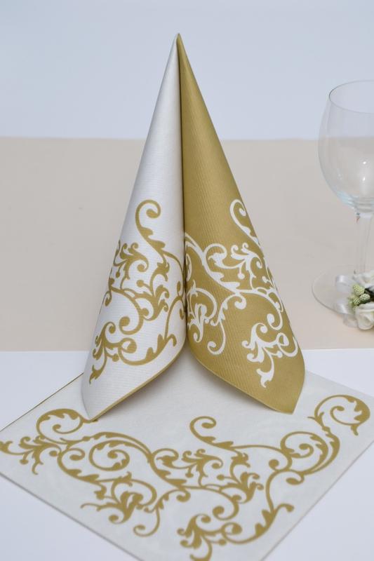 Airlaid ubrousek Pomp - bílo/zlatý