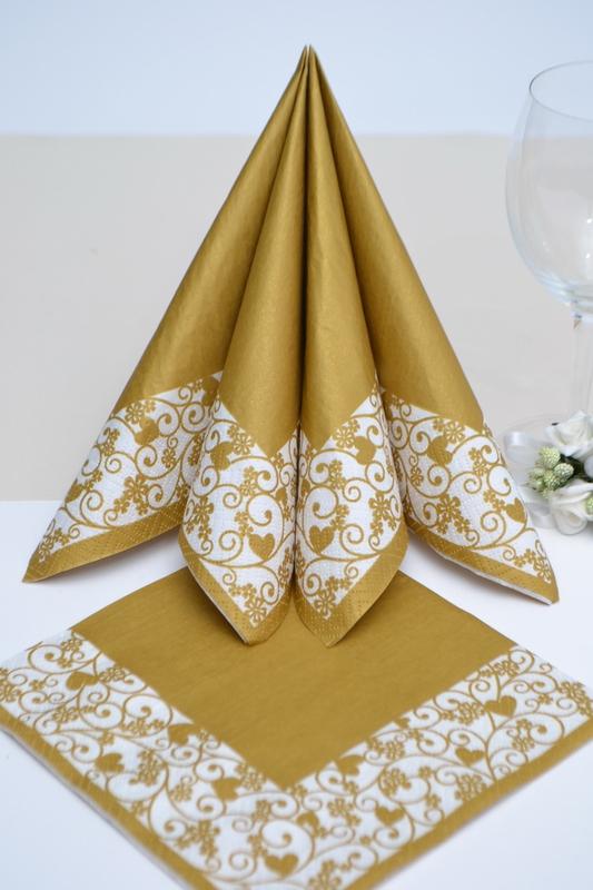 Svatební ubrousky- zlaté srdíčka