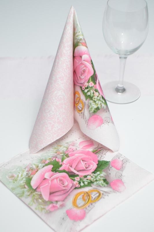 Svatební ubrousky - růže a prsteny