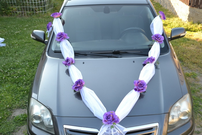 Tylová šerpa s maxi květy - fialová