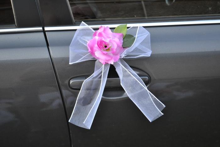 Organzové  ozdoby klik růže - fuchsiové/růžová