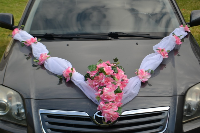 Sada na auto s kyticí  LUX - růžová