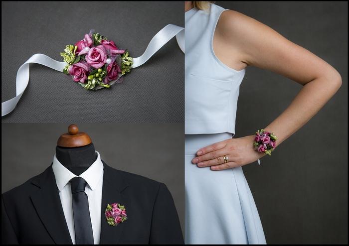 Květinové náramky a voničky 1- bordo