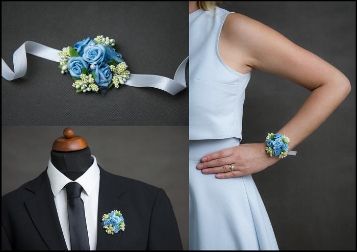 Květinové náramky a voničky 1  - modrá