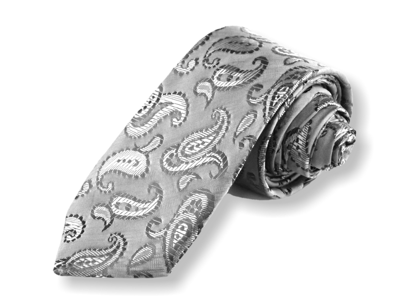 Kravata - stříbrná kašmírová