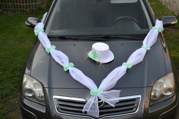 Sada na auto ženicha - zelená mátová