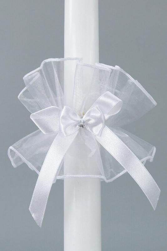 Ozdoba na křestní svíčku s bílou mašlí - OS24