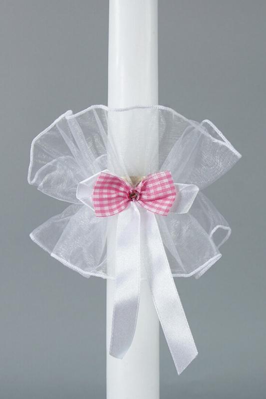 Ozdoba na křestní svíčku s růžovou mašlí - OS25