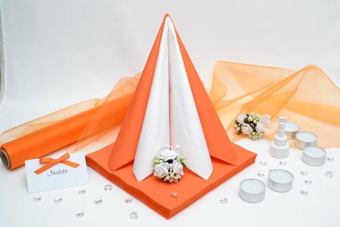 Sada DEKOR pro svatební stůl - bílá/oranžová