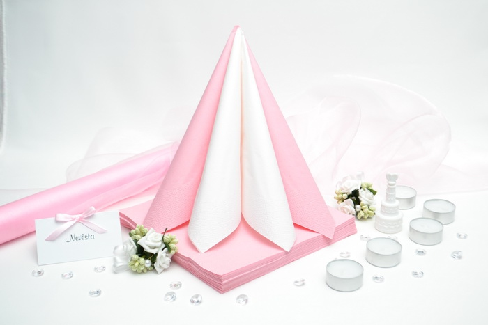 Sada DEKOR pro svatební stůl - bílá/růžová