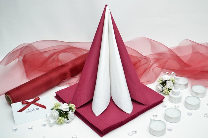 Sada DEKOR pro svatební stůl - bílá/bordó
