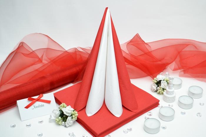 Sada DEKOR pro svatební stůl - bílá/červená