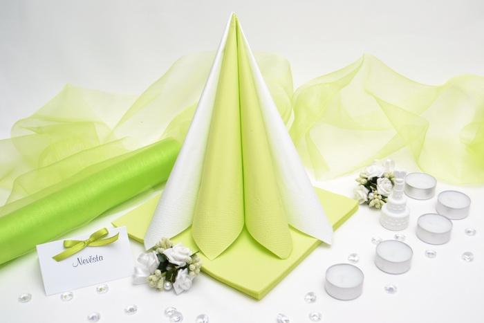 Sada DEKOR pro svatební stůl - bílá/světle zelená