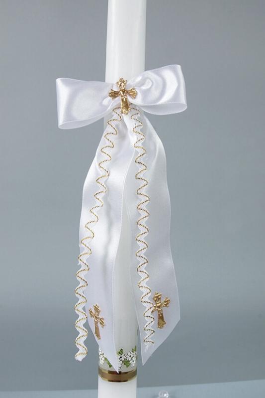 Ozdoba na křestní svíčku  OS-12 - zlatý křížek