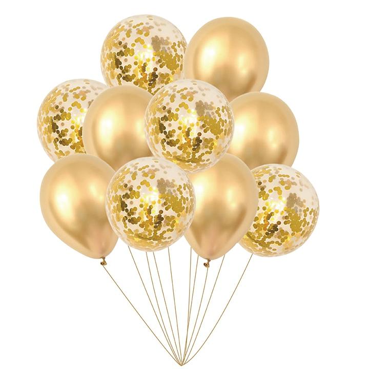 Sada balónků s konfetami-zlaté
